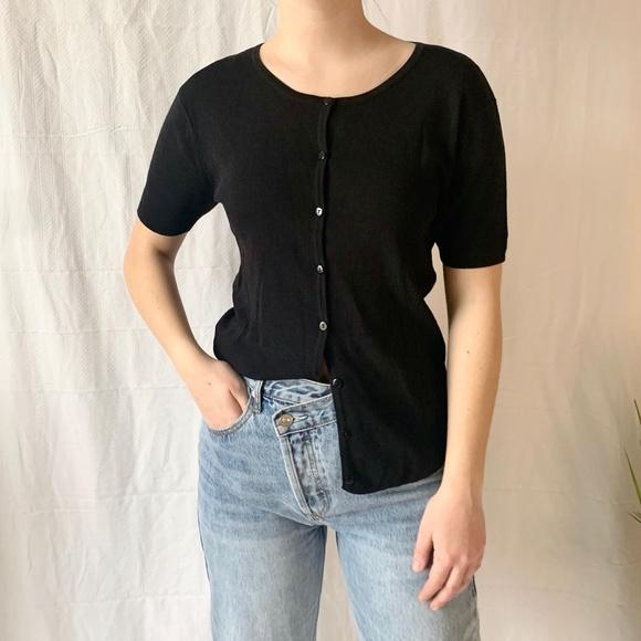 Vintage La Madona Button Up Cardigan Black Small